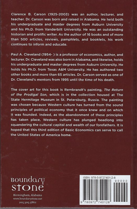 Back cover, Basic Economics, 3rd ed.