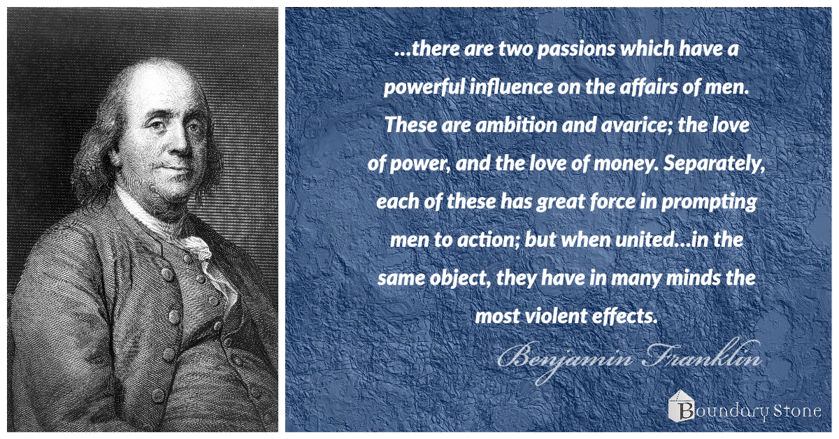 Benjamin Franklin Power and Money Quote Image